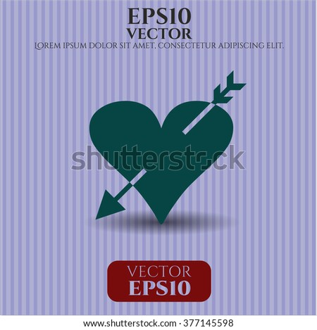 Heart with arrow vector symbol