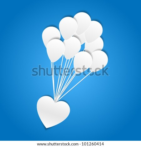 Heart with balloons - paper cut design