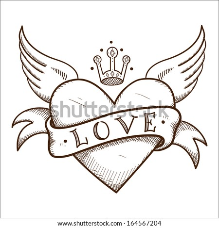 heart with banner and crown