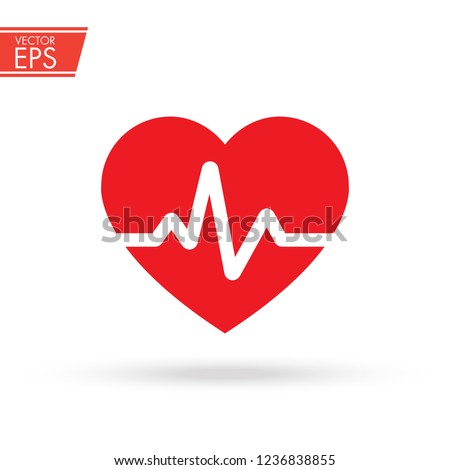 Heart with beat monitor pulse line art icon for medical apps and websites. breathing and alive sign red love heart. Red Medic blood pressure , cardiogram, health EKG, ECG logo. Heart in flat style.