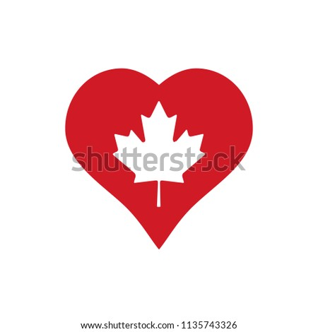 Heart with Canadian Maple Leaf Illustration. Vector.
