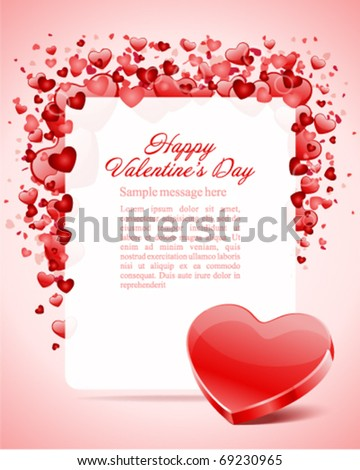 Heart with card frame Valentine's day vector background