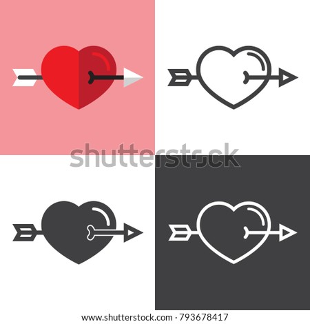 Heart with crossed Arrow Icons