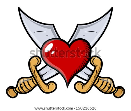 Heart Tattoo With Sword Vector Download Free Vector Art Stock