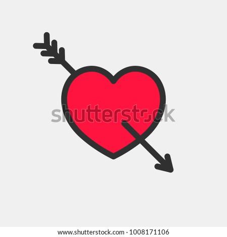 Heart with Cupid's Arrow. Vector icon.