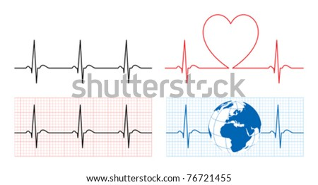 Heart with ecg and earth with ekg line