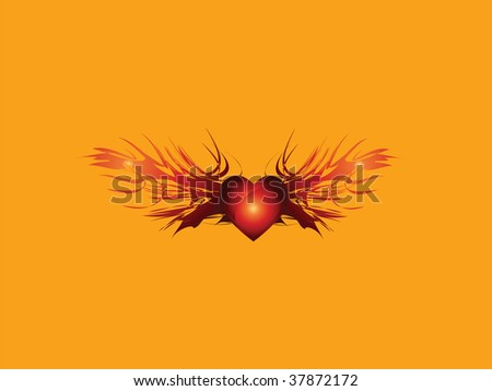 heart with flaming beam vector