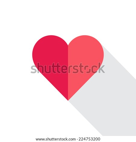 heart with flat designed shadow