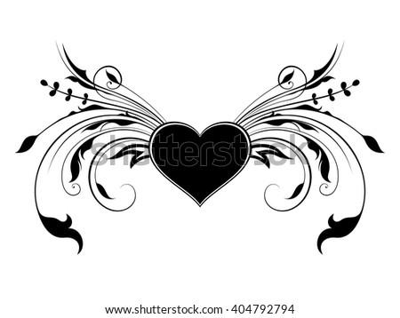 Heart with floral decorations