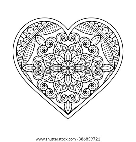 Stock Vector Heart With Floral Mandala Vintage Decorative Elements Oriental Pattern Vector Illustration