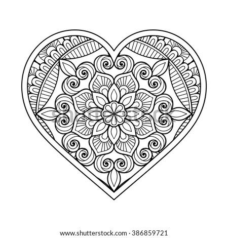 Heart With Floral Mandala Vintage Decorative Elements Oriental Pattern Vector Illustration