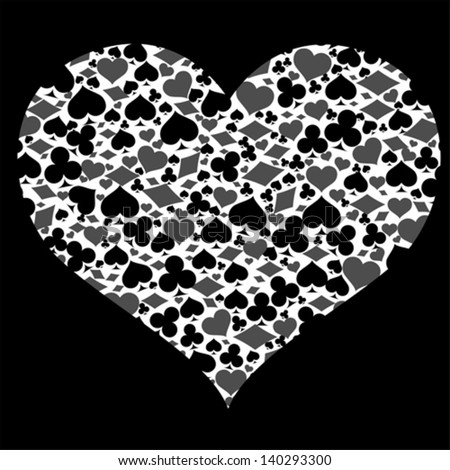 Heart with game card symbols, vector Photo stock ©