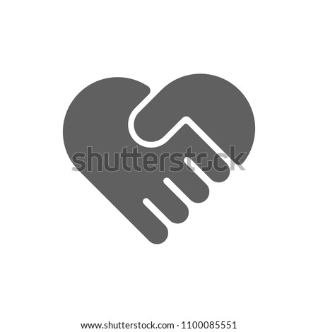 heart with hand shake icon