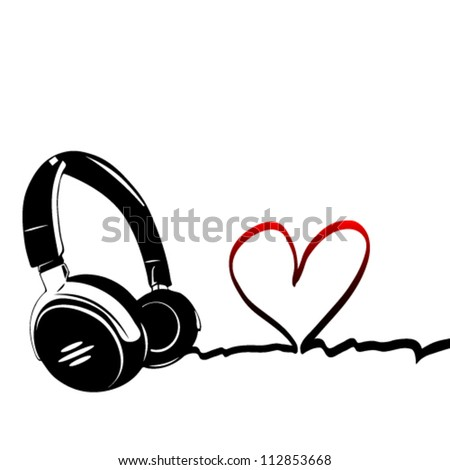 Heart with headphones the concept of a music lover