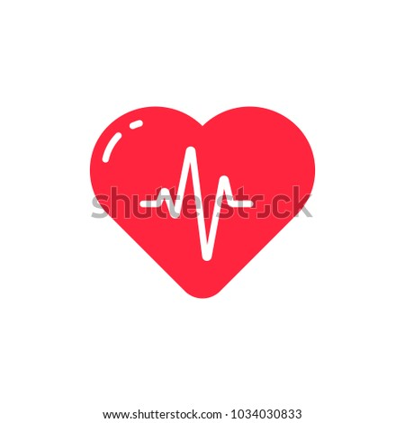 Heart with heartbeat line. Vector icon or logo design template in flat style