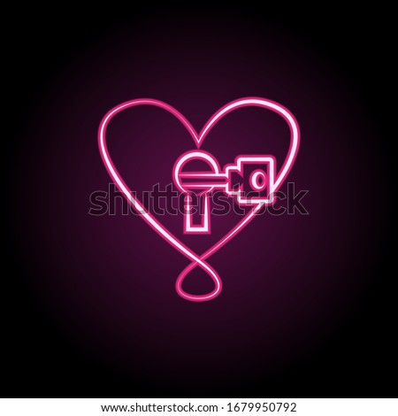heart with lock and key neon