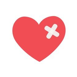 heart with medical bandage plaster for medical care concept symbol