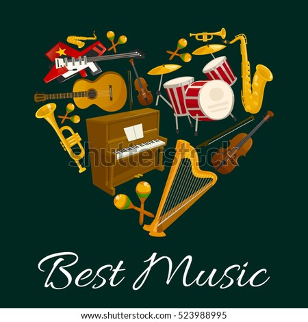Heart with musical instrument poster. Guitar, drum, saxophone, trumpet, violin, piano, harp and maracas. Music concert, jazz and rock musical festival banner design