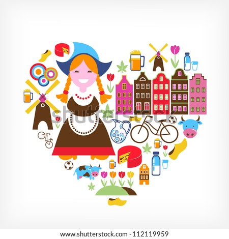 heart with netherlands vector