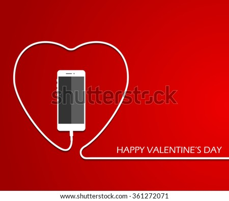 heart with phone  wire