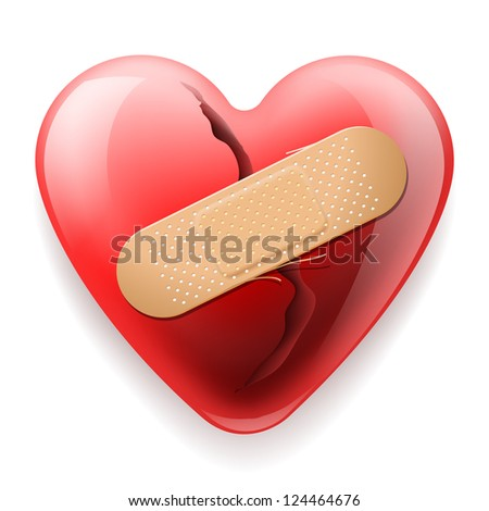 heart with plaster isolated on