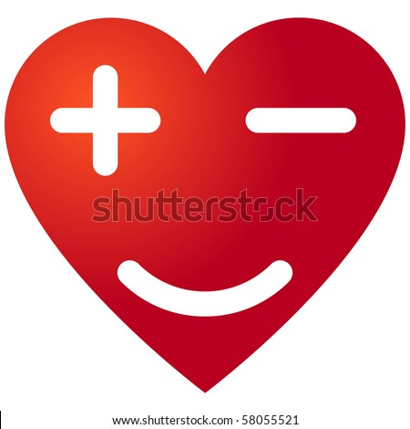 Heart with plus, minus symbols and smile - stock vector