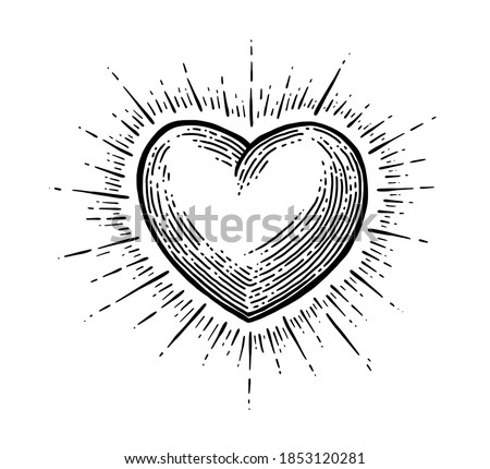Heart with rays. Vector black vintage engraving illustration isolated on a white background. For web, poster, info graphic. Stock photo ©