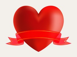 Heart with ribbon.Vector heart banner.