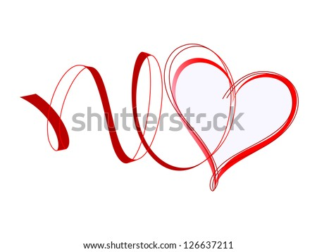 heart with ribbons red design