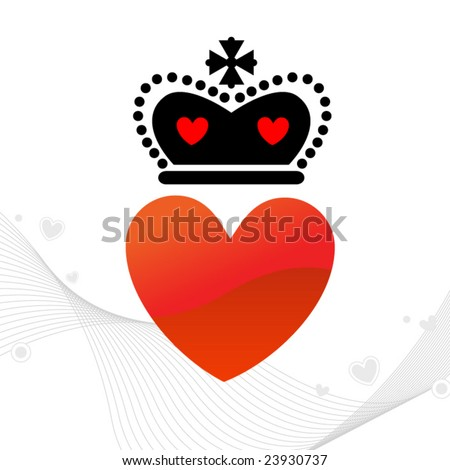 Heart with Royal Crown - stock vector