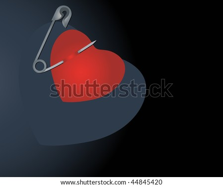 heart with safety pin and with place for your text heart with safety pin and with place for your text