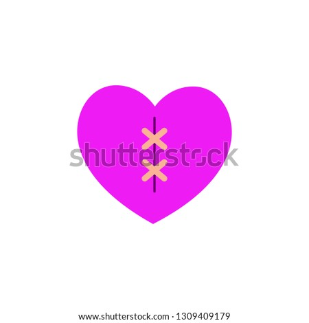 Heart with scar icon. Element of Web Valentine day icon for mobile concept and web apps. Detailed Heart with scar icon can be used for web and mobile