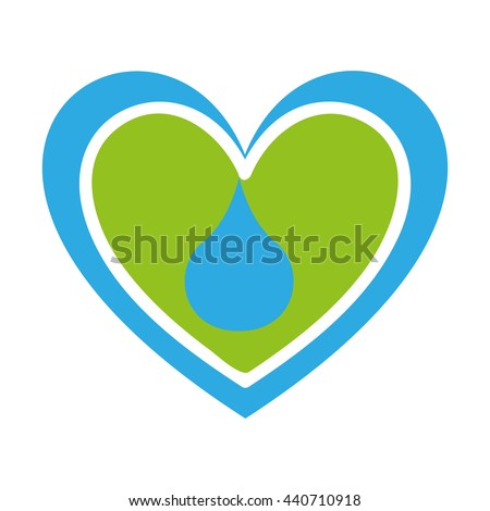 heart with water drop isolated