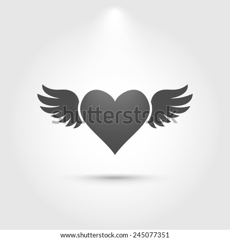 heart with wings icon love