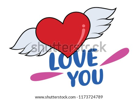 Heart Vector Background With Wings