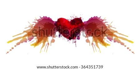 Stock Photo Heart with wings made of colorful grunge splashes