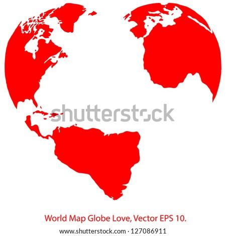 heart world map globe vector