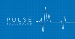 heartbeat ekg pulse tracing on blue background with square grid, medical or health concept. Vector illustration.