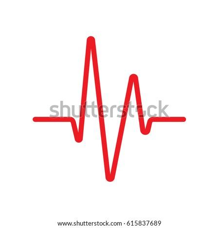 Heartbeat / Heart beat monitor. Cardiogram line wave icon. Vector. Logo.