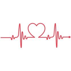 Heartbeat Heart Shape Centered Line