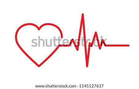 Heartbeat icon. Medical logo template with one line heart and pulse wave