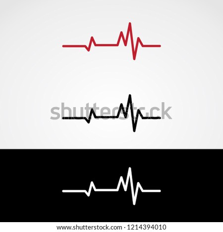 Heartbeat Icon. Set of Heartbeats in Different Colors. Cardiogram Flat Sign. Vector Illustration.
