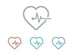 Heartbeat icon vector illustration EPS 10. Heart, pulse symbol