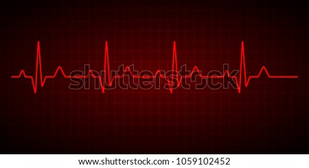 Heartbeat line. Cardiogram. Electrocardiogram. Vector illustration.