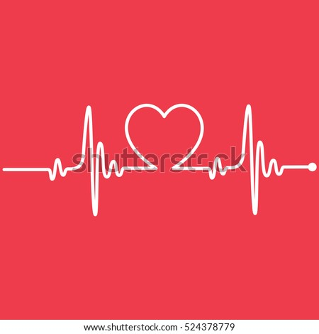 Heartbeat Line Heart Cardio - Shutterstock ID 524378779