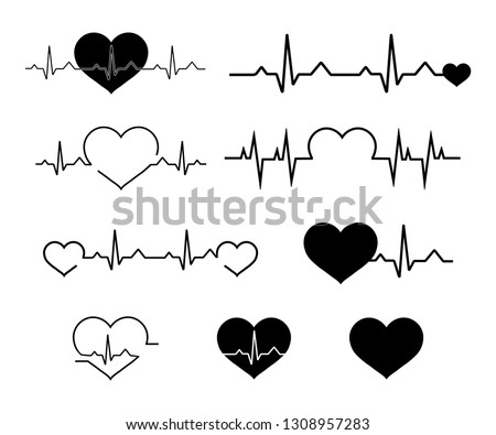 Heartbeat line icon set. Heartbeat sign in flat design. Heart pulse. Line vector cardiograms or electrocardiogram on monitor, heartbeat medical symbols. health medical heartbeat pulse