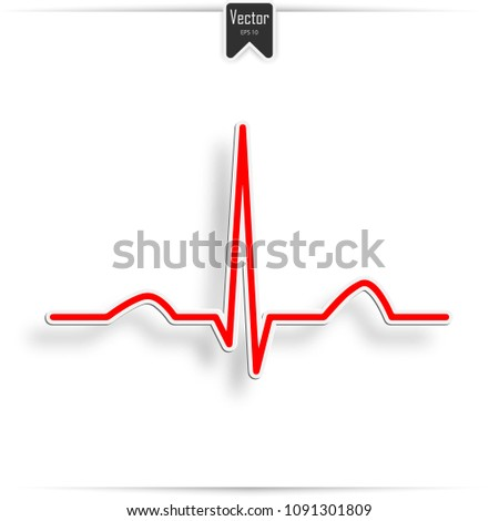 Heartbeat Line Red Background. Electrocardiogram, ecg or ekg - medical vector icon
