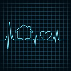 Heartbeat make a home and heart icon stock vector