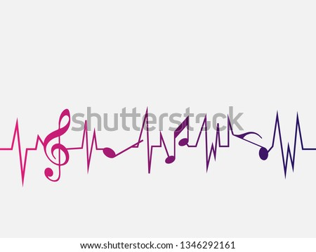 Heartbeat pulse line music with notes and clef. Black G-clef and music notes isolated vector illustration Can be adapt to Brochure, music notes, Magazine, Poster, Corporate Presentation, music notes.
