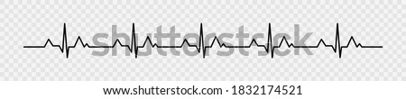 Heartbeat pulse vector line icon. Pulse isolated on transparent background. Heart beat, cardiogram. Vector illustration for medical offers and websites. Stock photo ©